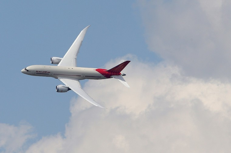 An Air India Airlines Boeing 787 dreamliner takes part in a flying display during the 50th Paris Air Show at the Le Bourget airport near Paris, in this June 14, 2013. (Pascal Rossignol/Reuters)