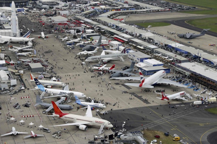 An aerial view of the 50th Paris Air Show, at the Le Bourget airport near Paris June 18, 2013. (Pascal Rossignol/Reuters)
