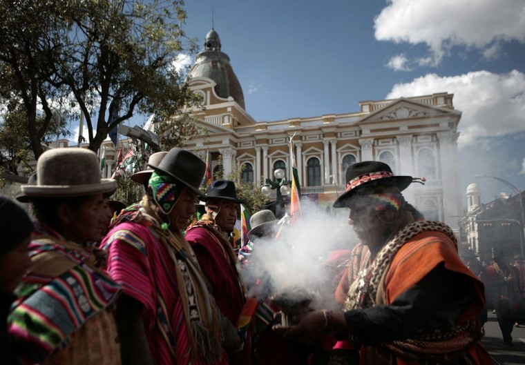 A Bolivian Aymara witch doctor takes part in celebrations bidding goodbye to the old Aymara year in La Paz on June 20, 2013. Winter solstice coincides with the Aymara new year that begins on Friday. (David Mercado/Reuters)
