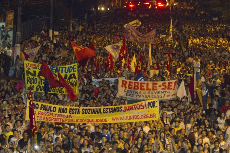 Demonstrators march during one of the many protests around Brazil's major cities in Belem, Para State, June 17, 2013. (Paulo Santos/Reuters)