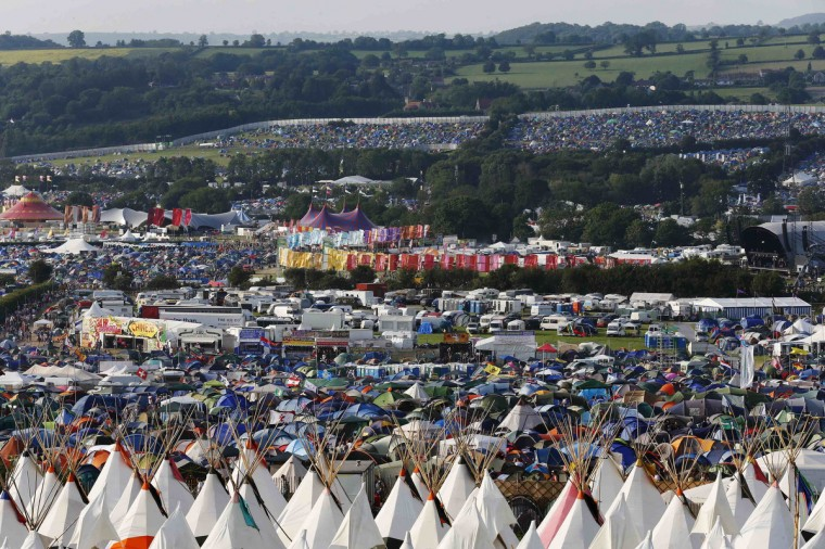 A general view of the campsite on the first day of Glastonbury music festival at Worthy Farm in Somerset, June 26, 2013. (Olivia Harris/Reuters)