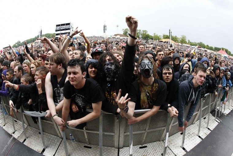 Fans react during the Download music festival in Castle Donington, central England. (Darren Staples/Reuters)