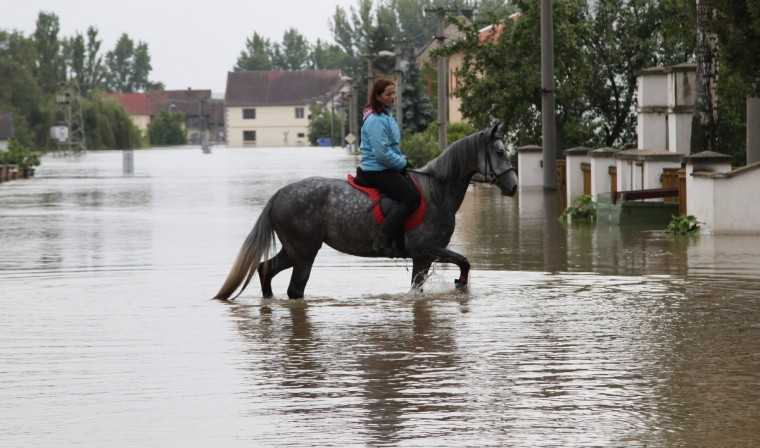 A woman rides a horse through the flooded street of the village of Kresice near the city of Litomerice, June 4, 2013. (Petr Josek/Reuters)