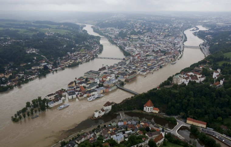 An aerial image shows the three-rivers city of Passau in south-eastern Bavaria June 4, 2013. Torrential rain in the south and south-east of Germany caused heavy flooding over the weekend of the rivers Inn (L), Danube (2R) and Ilz (front R), forcing people to evacuate their homes. (Wolfgang Rattay/Reuters)