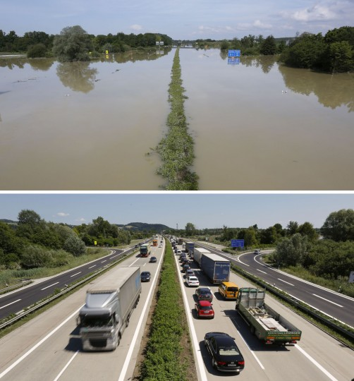 A combination photo shows the flooded A3 highway (top) near the eastern Bavarian city of Deggendorf, Germany on June 7, 2013, and the same area of the A3 highway with a traffic jam caused by heat damage to the surface material of the road June 21, 2013. (Wolfgang Rattay/Reuters)