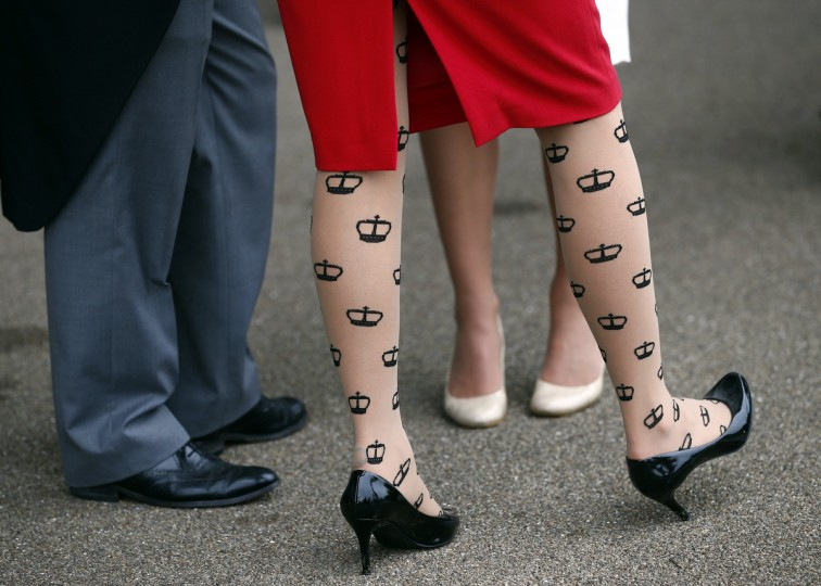 A woman wears tights showing the Ascot emblem during the first day of the Royal Ascot horse racing festival at Ascot, southern England. (Darren Staples/Reuters photo