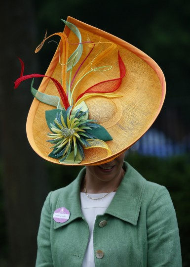Racegoer Susan Leuchars arrives for Ladies' Day at the Royal Ascot horse racing festival at Ascot. (Darren Staples/Reuters photo)