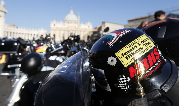A motorcycle helmet is pictured in front of St. Peter's square during the Harley-Davidson 110th Anniversary Party in Rome. The celebration will finish with the blessing of 1400 motorcycles at St. Peter's square in the Vatican City on June 16. (Stefano Rellandini/Reuters)