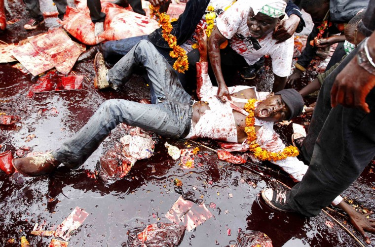 A protester lies in animal blood as he participates in a demonstration against lawmakers' demands for a pay rise, outside parliament buildings in Nairobi. Refusing to accept a cut imposed by the Salaries and Remuneration Commission in May, members of parliament voted to increase their salaries to 130 times the minimum wage, which according to them, are needed to deter bribery and provide charitable support for constituents. Protesters have deemed the proposed salary raise a violation of the constitution, according to news reports. (Thomas Mukoya/Reuters)