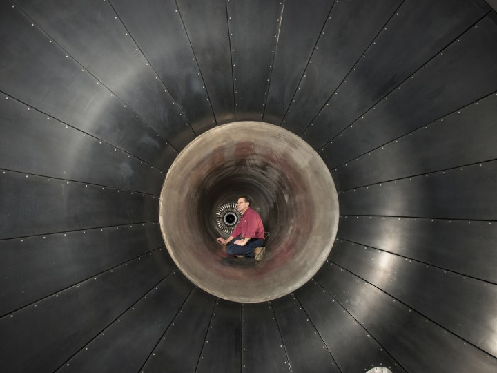 NASA Glenn's Propulsion System Laboratory (PSL) lead technician John Wargo inspects an inlet ducting, upstream of a Honeywell ALF 502 engine that was recently used for the NASA Engine Icing Validation test, in Cleveland, Ohio. The test allows engine manufacturers to simulate flying through the upper atmosphere, where large amounts of icing particles can be ingested and cause flame outs or a loss of engine power on aircrafts. (NASA via Reuters)