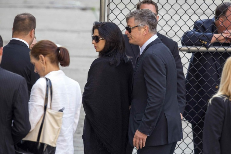 Actor Alec Baldwin and his wife Hilaria Thomas arrive for funeral services of James Gandolfini outside the Cathedral Church of Saint John the Divine in New York. (Lucas Jackson/Reuters)