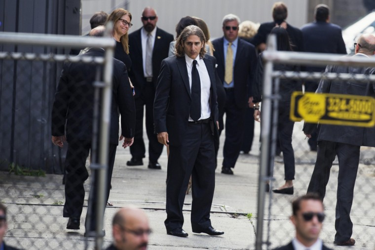 Actor Michael Imperiolii arrives for the funeral services of James Gandolfini outside the Cathedral Church of Saint John the Divine in New York. (Lucas Jackson/Reuters)