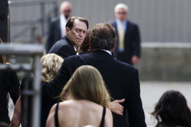 Actor Steve Buscemi arrives for the funeral services of James Gandolfini outside the Cathedral Church of Saint John the Divine in New York. (Lucas Jackson/Reuters)