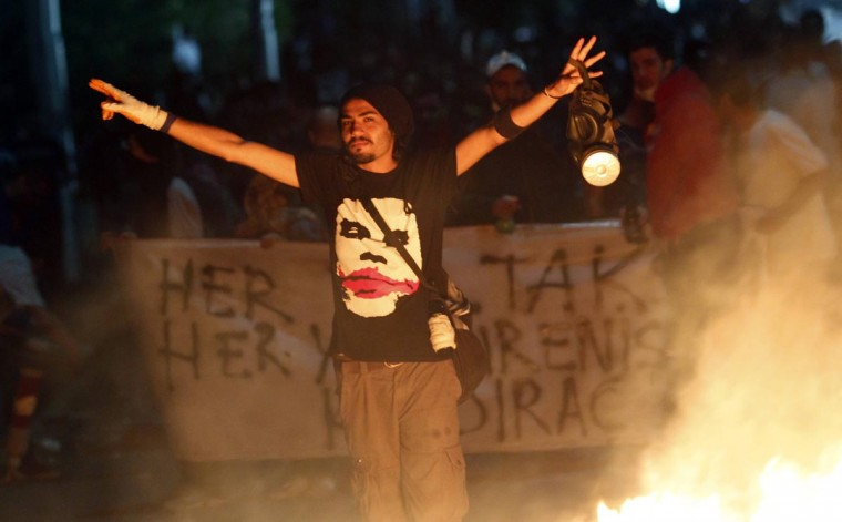 An anti-government protester gestures during a demonstration in Ankara late June 2, 2013. (Umit Bektas/Reuters)