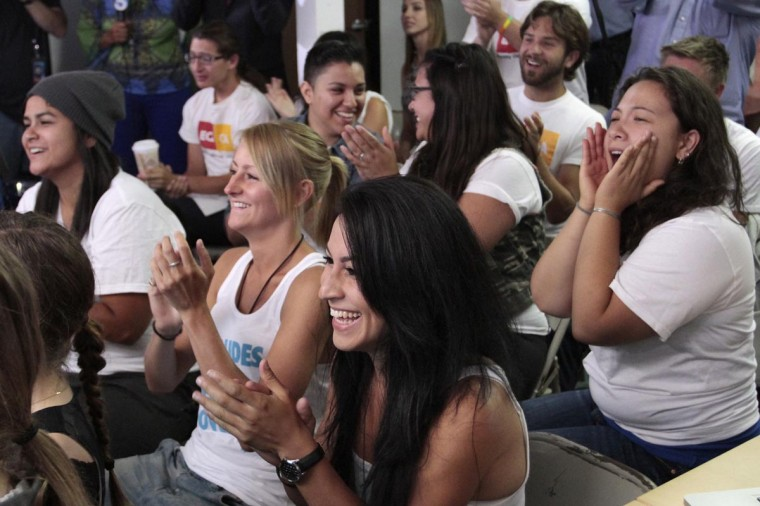 People react at a viewing party after the United States Supreme court ruled on the federal Defense of Marriage Act, in West Hollywood June 26, 2013. (Jonathan Alcorn/Reuters)