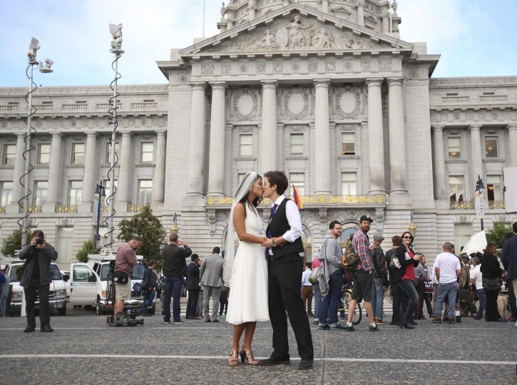 Lisa Dazols (R) and Jenny Chang celebrate after the U.S. Supreme Court ruled on California's Proposition 8 and the federal Defense of Marriage Act, outside the city hall in San Francisco, California, June 26, 2013. (Jed Jacobsohn/Reuters)
