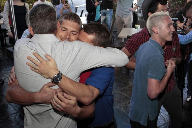 People celebrate after the U.S. Supreme court ruled on California's Proposition 8 and the federal Defense of Marriage Act, at The Abbey in West Hollywood, California June 26, 2013. (Jonathan Alcorn/Reuters)