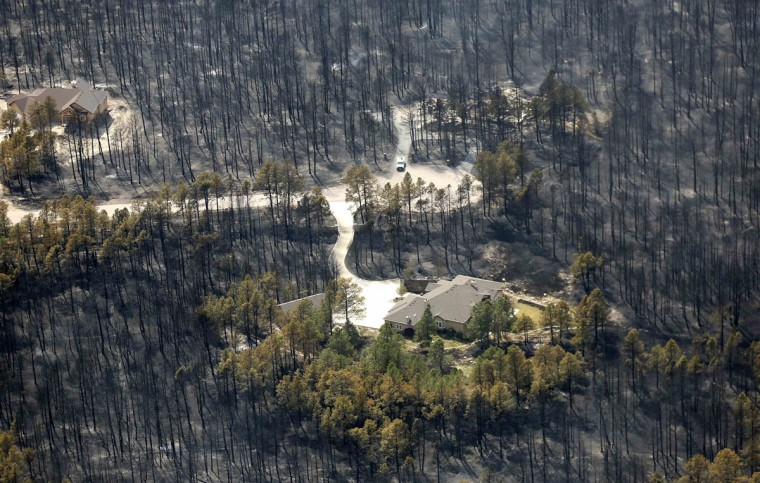 A house sits undamaged in the aftermath of the Black Forest Fire in Black Forest, Colorado June 13, 2013. Hundreds of firefighters made a determined stand on Thursday to stop the wildfire that has already destroyed some 360 homes from roaring into the outskirts of Colorado Springs after it billowed overnight into the most destructive blaze in state history. (Rick Wilking/Reuters)