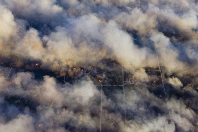 An aerial photo shows a wildfire burning near Colorado Springs, Colorado on June 11 2013. (John Wark/Reuters)