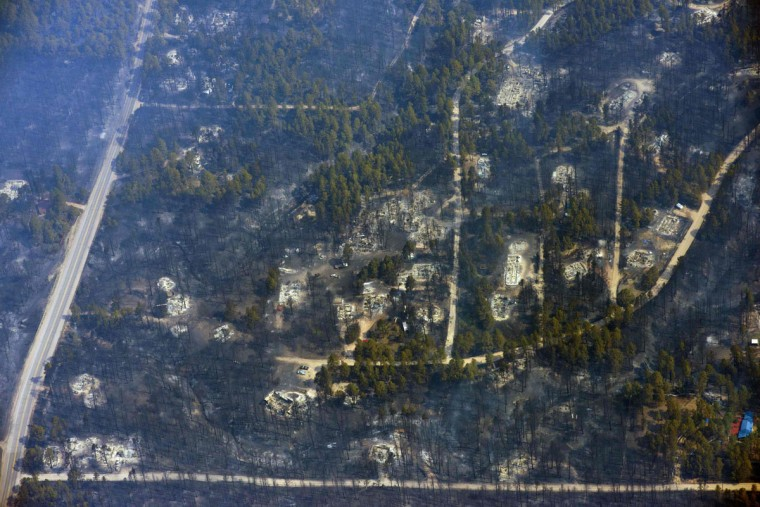 An aerial photo shows the aftermath of a wildfire that burned homes in Black Forest community near Colorado Springs, Colorado June 12 2013. (John Wark/Reuters)