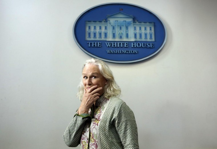 Actress Glenn Close makes an appearance in the Brady Briefing Room at the White House June 3, 2013. Close is at the White House to speak at the National Conference on Mental Health which is being hosted by President Barack Obama today. (Kevin Lamarque/Reuters)