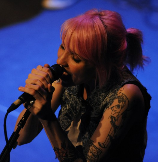 Sherri Dupree-Bemis, Max Bemis' wife, performs a song with Say Anything. (Jon Sham/BSMG)