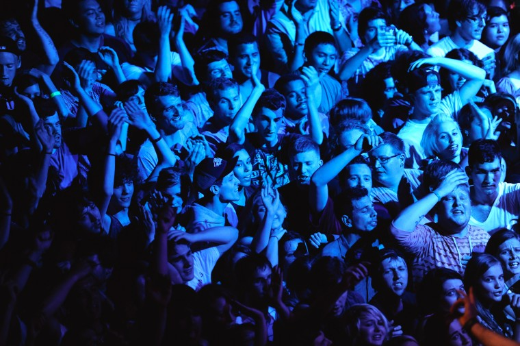 The crowd emphatically sings along during Say Anything's set. (Jon Sham/BSMG)