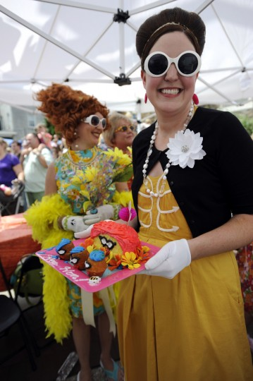 Before the competition, eventual Bawlmer Hon winner Mary Ellen Wade of Baltimore holds baked goods she created for the talent competition at the 2010 Baltimore Hon Fest, held on The Avenue in Hampden. (Barbara Haddock Taylor/Baltimore Sun)