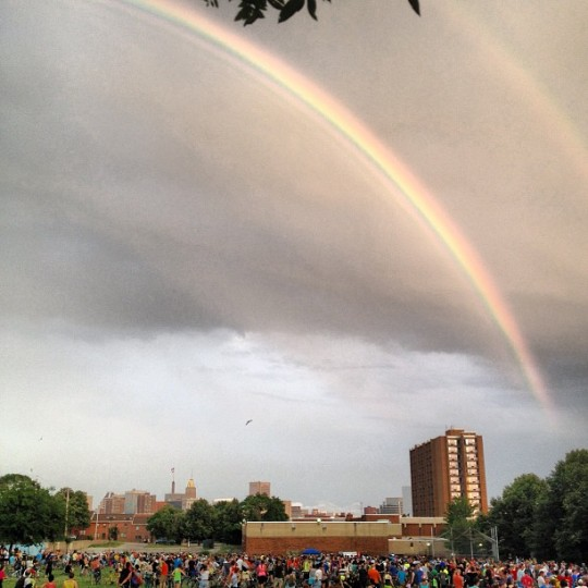 A double rainbow shines over Baltimore in this photo taken at the Baltimore Bike Party. (Instagram photo by @robberedd)
