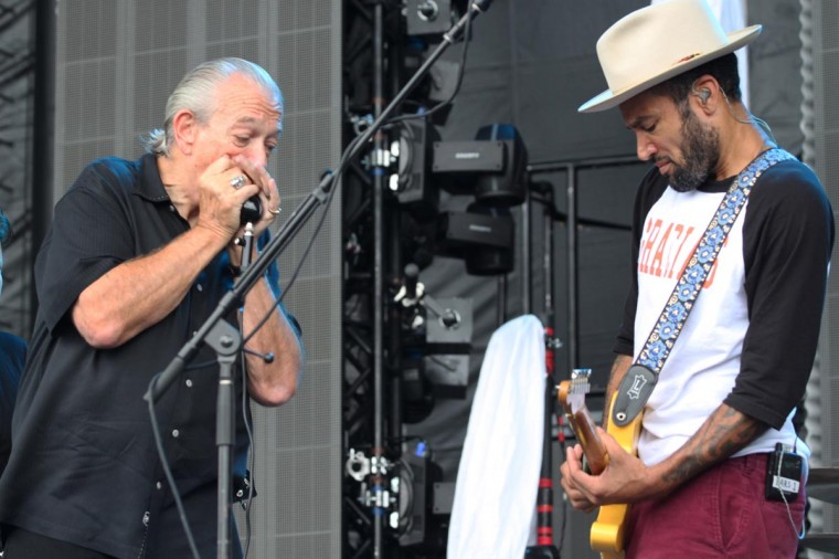 Ben Harper (right) and Charlie Musselwhite performed June 23, 2013 at the Firefly Music Festival 2013 in Dover, Delaware. (Credit: Andrew Windham for The Baltimore Sun)