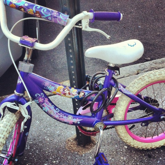 """Princess bike in the city = Lock that sh*t up"" - near Patterson Park, May 10, 2012 (Nick Tann/Baltimore Sun)"