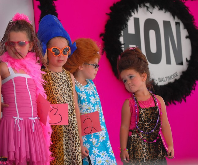 Contestants of Lil' Miss Hon Contest as part of HonFest lined up on the stage. From Lt-Rt; Hallie Ingles, 6, Allison Rose, 6, Julie Rose, 5, and Kaylee Prestianni, 4. The Baltimore's Best Hon Contest began in 1994. (Chiaki Kawajiri/Baltimore Sun)