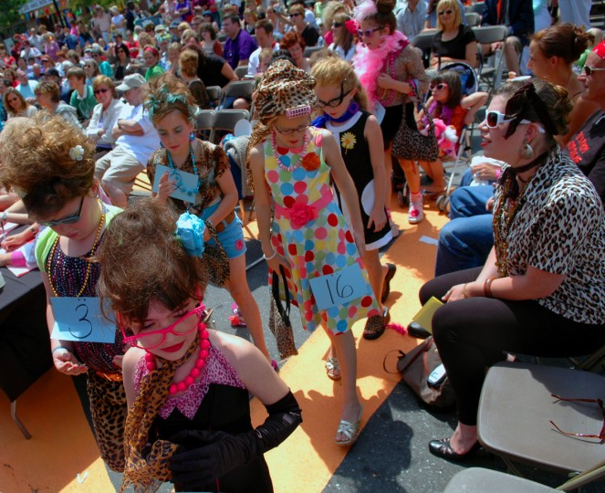 The contestants of the Honette Contest walk through the crowds to ready themselved to go up on the stage. HonFest 2006. (Chiaki Kawajiri/Baltimore Sun)