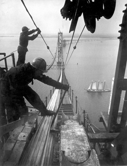 Electrician Nicholas C. Guerieri works on the main east tower pier 26 during construction of the first Bay Bridge in 1952. (Hans Marx/Baltimore Sun)