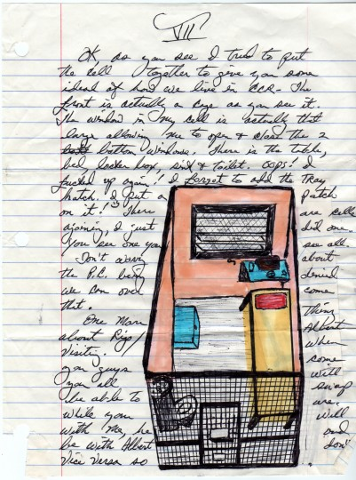 A letter from inmate Herman Wallace to artist Jackie Sumell shows a drawing of his solitary confinement cell. (Credit: Storyline Entertainment)