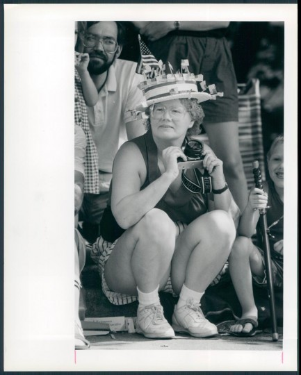 1990: Alice Corrieri of Arbutus, attends the July 4th Catonsville parade. This year she came prepared with a homemade hat. (Kenneth K. Lam/Baltimore Sun)