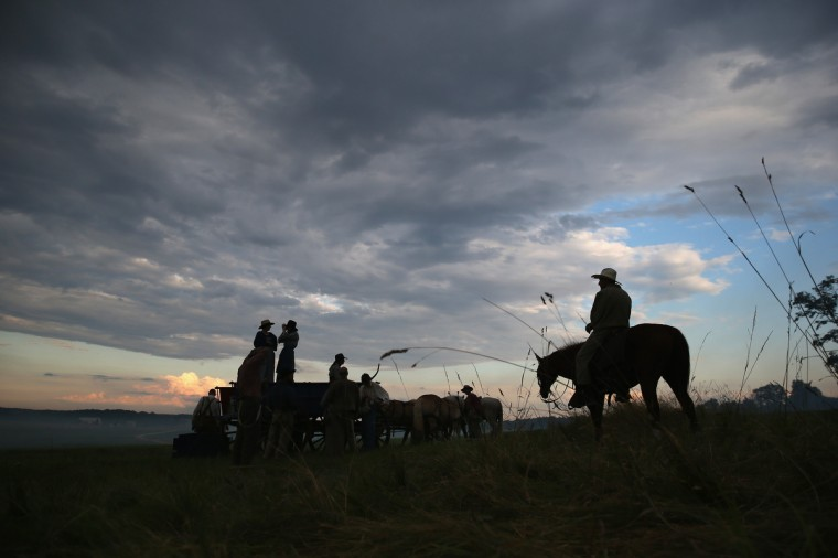Civil War re-enactors from Hood's Texas Brigade participate in a three-day Battle of Gettysburg re-enactment on June 29, 2013 in Gettysburg, Pennsylvania. (John Moore/Getty Images)