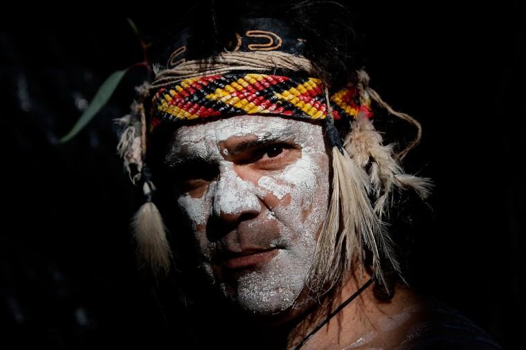 Glen Doyle a member of the Wuriniri Dance Group poses during a public NAIDOC celebration at Hyde Park in Sydney, Australia. NAIDOC is a celebration of Aboriginal and Torres Strait Islander cultures and an opportunity to recognize the contributions of Indigenous Australians. (Lisa Maree Williams/Getty Images)