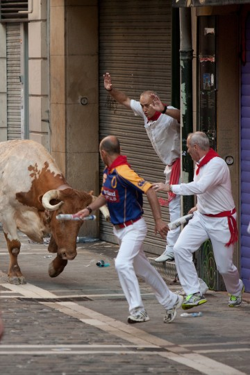 A steer runs towards revellers during the Dolores Aguirre's ranch fighting bulls running near Curva Estafeta on the third day of the San Fermin Running Of The Bulls festival, in Pamplona, Spain. (Pablo Blazquez Dominguez/Getty Images)