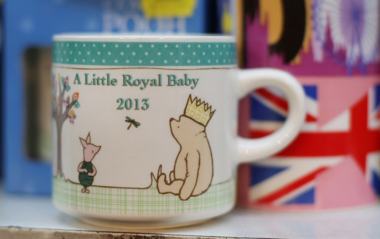 A shop displays a mug celebrating the impending royal birth as the UK prepares for the birth of the first child of The Duke and Duchess of Cambridge in London, England. (Peter Macdiarmid/Getty Images)