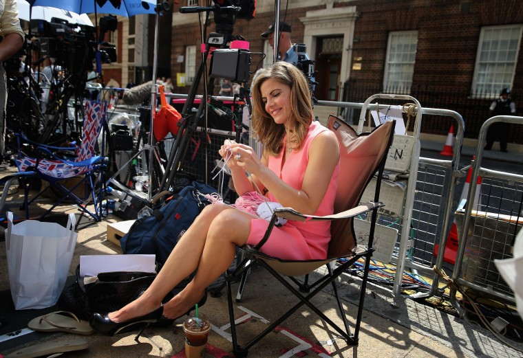 News Anchor with NBC Natalie Morales knits to pass the time outside the Lindo wing of St Mary's Hospital as the UK prepares for the birth of the first child of The Duke and Duchess of Cambridge in London, England. (Chris Jackson/Getty Images)