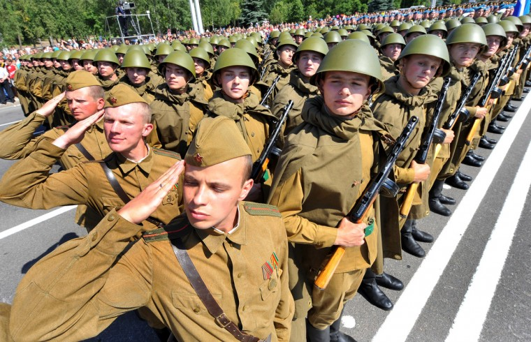 Wearing World War II-era Red Army uniform Belarus soldiers take part in the Independence Day parade in Minsk. Belarus celebrated today Independence Day, an official holiday marking the day in 1944 when the Red Army liberated Minsk from Nazi troops during the World War II. (Viktor Drachev/Getty Images)