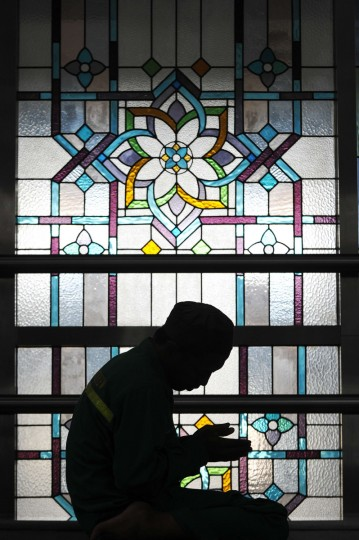 An Indonesian Muslim man prays at a mosque on the first day of the holy month of Ramadan in Jakarta on July 10, 2013. Islam's holy month of Ramadan is celebrated by Muslims worldwide marked by fasting, abstaining from foods, sex and smoking from dawn to dusk for soul cleansing and strengthening the spiritual bond between them and the Almighty. (Adek Berry/Getty Images)