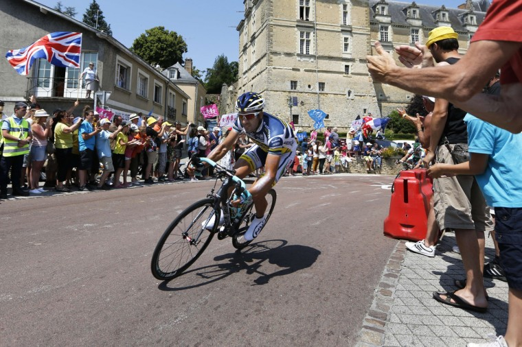 Spain's Juan Antonio Flecha rides during the 218 km twelfth stage of the 100th edition of the Tour de France cycling race. (Pascal Guyot/Getty Images)