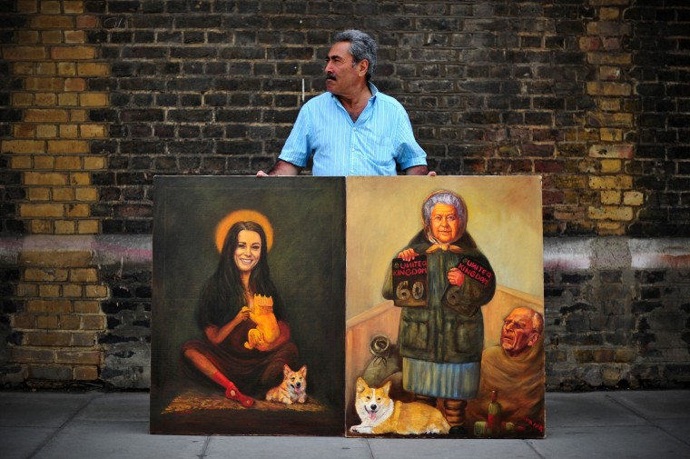 Artist Kaya Mar poses with paintings of Britain's Queen Elizabeth II (R) and Catherine (L), Duchess of Cambridge, outside the Lindo Wing of Saint Mary's Hospital in London where Prince William and his wife Catherine's baby will be born. Britain's royal family and the world's media are on tenterhooks awaiting the birth of Prince William and wife Catherine's first child, a baby who will one day be king or queen of Britain and a diverse group of commonwealth countries. (Carl Court/Getty Images)