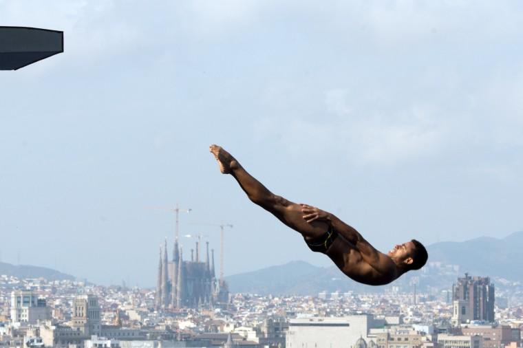 A diver trains at the Montjuic swimming pool two days before the start of the 15th FINA World Championships in Barcelona. (Francois Xavier Marit/Getty images)