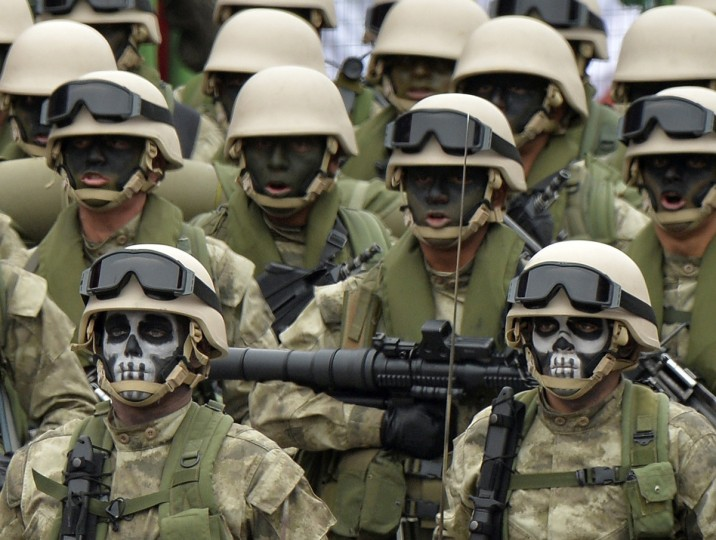 Peruvian Army special forces march during a traditional military parade in Lima commemorating the country's 192nd independence anniversary. (Cris Bouroncle/Getty Images)