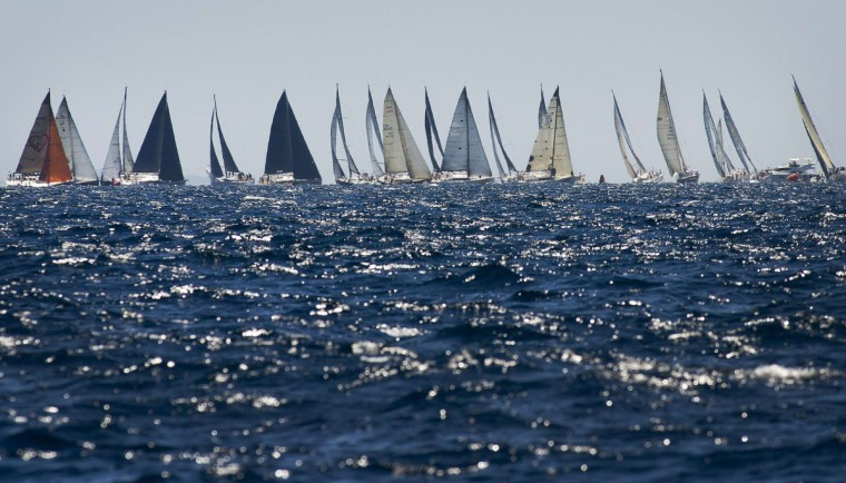 Sailboats compete in the 32th edition of the Copa del Rey regatta in Palma de Mallorca. (Jaime Reina/Getty Images)