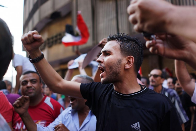Thousands of Egyptian protesters celebrate in Tahrir Square as the deadline given by the military to Egyptian President Mohammed Morsi passes on July 3, 2013 in Cairo, Egypt. (Spencer Platt/Getty Images)