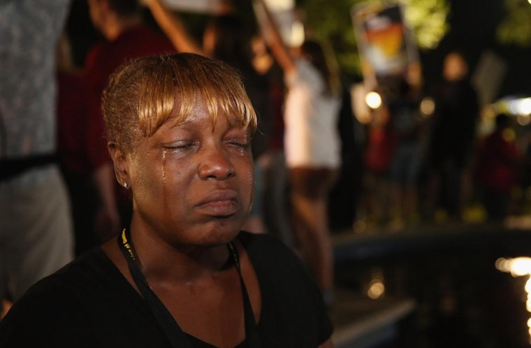 Tanetta Foster breaks into tears in front of the Seminole County Criminal Justice Center after learning George Zimmerman had been found not guilty in the Murder of Trayvon Martin on July 13, 2013 in Sanford, Florida. (Scott Olson/Getty Images)